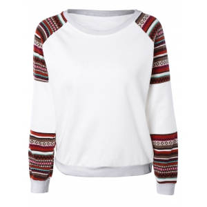 Tribal Print Spliced Sweatshirt - White - L