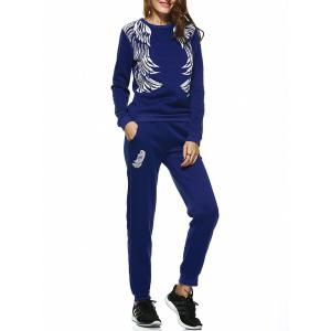 Wing Print Sweatshirt and Jogger Sports Pant - Sapphire Blue - Xl