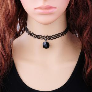 Vintage Faux Zircon Tattoo Choker Necklace - Black - M