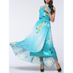 Boho Floral Maxi Chiffon Flowy Beach Dress - Light Blue - 3xl