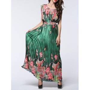 Boho Maxi Floral Pleated Flowy Beachwear Dress