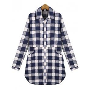 Plus Size Checked Pockets Long Sleeves Shirt - Purplish Blue - 3xl