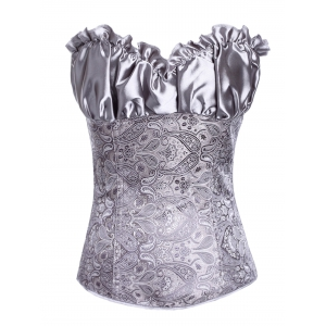 Stunning Lace Up Ruffle Paisley Print  Corset With G-String - Gray - 6xl