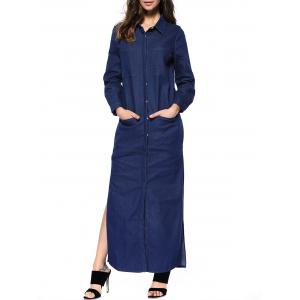 Denim Long Sleeve Shirt Maxi Dress - Deep Blue - S