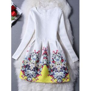 Floral Jacquard Long Sleeve Skater Dress