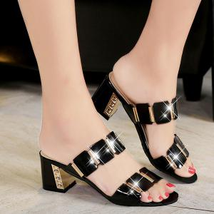 Trendy Block Heel and Metal Design Slippers For Women - Black - 38
