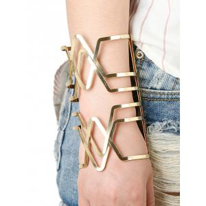 Hollow Out Cross V-Shaped Long Cuff Bracelet - Golden
