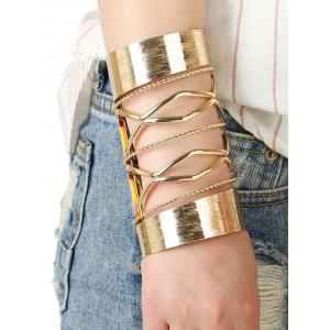 Cut Out Twisted Chain Crisscross Long Cuff Bracelet - Golden