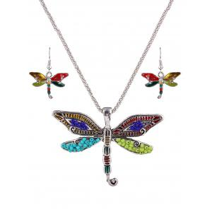 Multicolored Beads Dragonfly Jewelry Set
