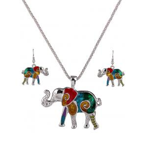 Enamel Multicolor Elephant Necklace and Earrings