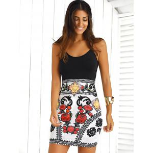 Color Block Floral Sleeveless Mini Bodycon Dress - Black And White And Red - M