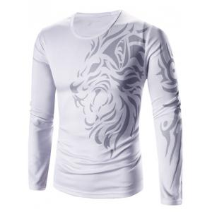 Tattoo Style Tiger Print Round Neck Long Sleeve T-Shirt For Men