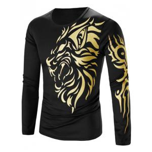 Tattoo Style Golden Tiger Print Round Neck Long Sleeve T-Shirt For Men - Black - M