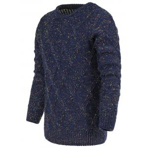 Heathered Geometric Pattern Crew Neck Long Sleeve Sweater For Men
