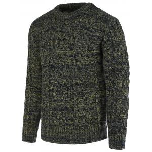 Braid Pattern Heathered Crew Neck Long Sleeve Sweater For Men