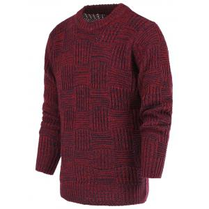 Ribbed Plaid Pattern Crew Neck Long Sleeve Sweater For Men - Red - M