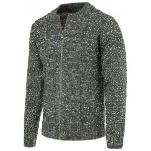 Heathered Braid Zip Up Long Sleeve Cardigan For Men