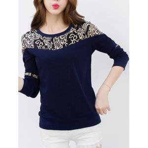 Lace Panel Long Sleeve Crew Neck T-Shirt