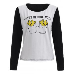 Chic Fries Pattern Spliced Women's T-Shirt