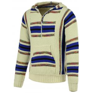 Striped Pattern Half Zip Long Sleeve Hooded Sweater For Men