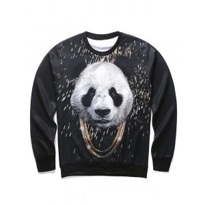 3D Panda and Gold Chain Print Round Neck Long Sleeve Sweatshirt For Men - Black - S