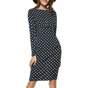 Fashionable Long Sleeve Polka Dot Sheath Dress