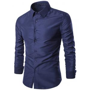 Turn-Down Collar Slim-Fit Long Sleeve Formal Shirt - Cadetblue - L