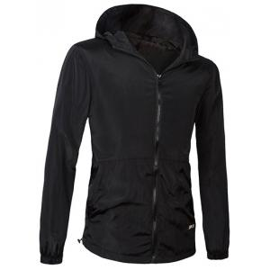 Brief Style Hooded Zipper Flying Jacket For Men - Black - L
