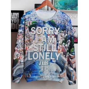 3D City and Letters Print Round Neck Long Sleeve Sweatshirt For Men