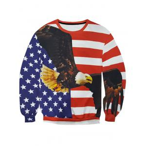 3D Star and Stripe Eagle Print Round Neck Long Sleeve Sweatshirt For Men