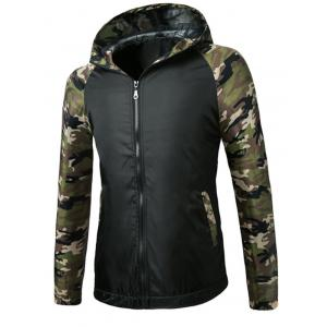 Fashionable Camo Spliced Hooded Zipper Flying Jacket For Men - Black - M