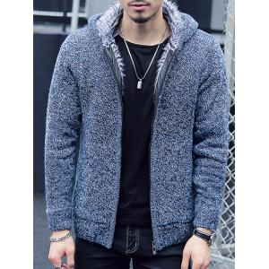 Plush Lining Zip Up Hooded Cardigan For Men - Blue - Xl