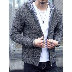 Plush Lining Zip Up Hooded Cardigan For Men