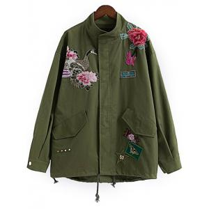 Floral Utility Jacket - Army Green - M