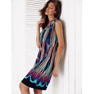 Sleeveless Multi Color Knee Length Shift Dress -