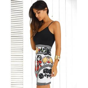Color Block Floral Sleeveless Mini Bodycon Dress - BLACK/WHITE/RED M