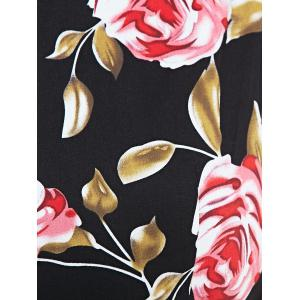 Retro Rose Floral Party Skater Dress - BLACK 2XL