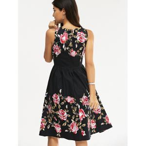 Retro Rose Floral Party Skater Dress - BLACK S