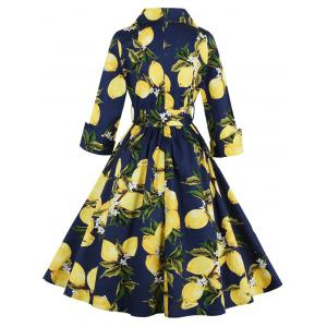 Vintage High Waist Lemon Print Dress - PURPLISH BLUE XL