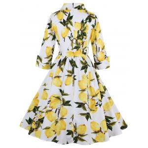 Vintage High Waist Lemon Print Dress - WHITE S