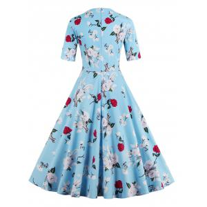 Vintage Sweetheart Neck Floral Pattern Skater Dress - WATER BLUE 4XL