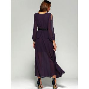 Chiffon Split Sleeve Long Swing Evening Dress - PURPLE XL
