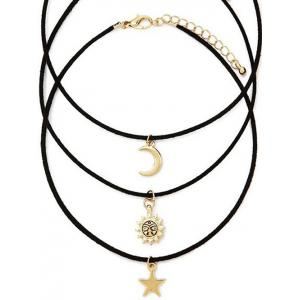 Retro Style Moon Star Sun Layered Necklace Set -