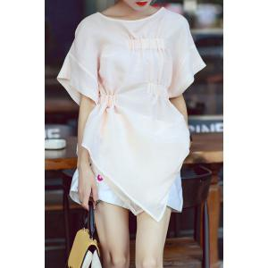 Asymmetric Pleated Batwing Sleeve Blouse
