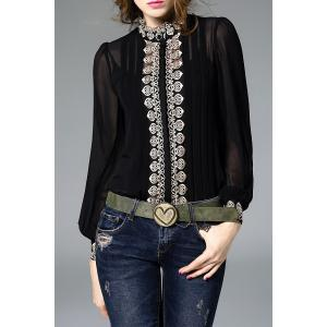 Fitting Embroidered Shirt With Cami Tank Top - Black - M