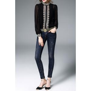 Fitting Embroidered Shirt With Cami Tank Top - BLACK M
