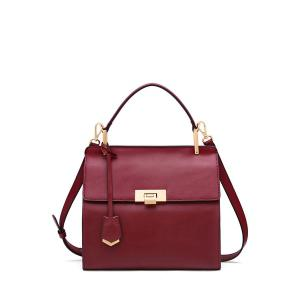 Retro Style Leather Tote Bag - Wine Red - 38