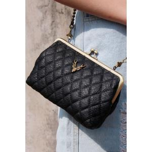 Kiss-Lock Closure Crossbody Bag - Black