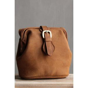 Snap Closure Crossbody Bag - Brown
