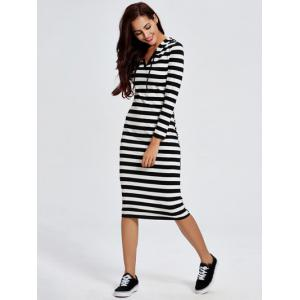 Chic Hooded Long Sleeve Striped Women's Dress - STRIPE XL